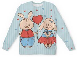 """Свитшот унисекс с полной запечаткой """"Влюбленные зайцы"""" - сердца, 14 февраля, парные, зайцы"""