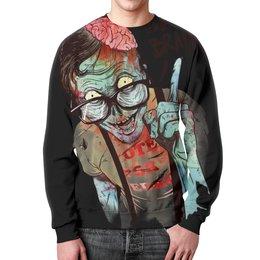 """Свитшот мужской с полной запечаткой """"Зомби"""" - зомби, мозги, иллюстрация"""