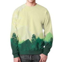 """Свитшот мужской с полной запечаткой """"Природа леса"""" - лес, деревья, природа, горы, пейзаж"""