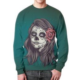 "Свитшот унисекс с полной запечаткой ""Череп хеллоуина"" - череп, хэллоуин, зомби, ужас, монстр"