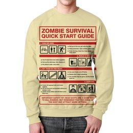 """Свитшот унисекс с полной запечаткой """"Зомби апокалипсис. Инструкция по выживанию"""" - зомби, ходячие мертвецы, walking dead, зомби апокалипсис, инструкция"""