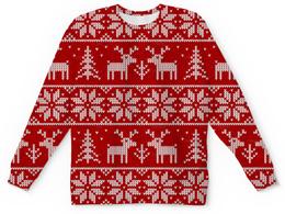 """Свитшот унисекс с полной запечаткой """"Рождественская сказка"""" - снег, рождество, олени"""