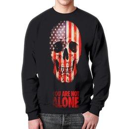 """Свитшот мужской с полной запечаткой """"You are not alone"""" - череп, америка, кости, надписи, флаг"""