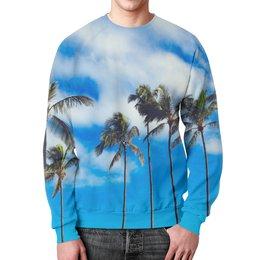 """Свитшот мужской с полной запечаткой """"Пальмы"""" - лето, деревья, пляж, пальмы, майами"""