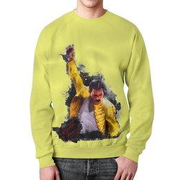 """Свитшот мужской с полной запечаткой """"Freddie Mercury  """" - музыка, фредди меркьюри, квин, богемская рапсодия"""