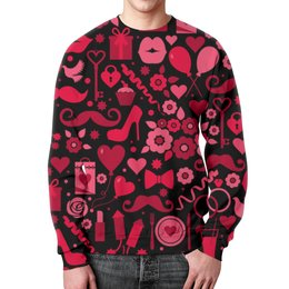 """Свитшот унисекс с полной запечаткой """"День святого Валентина"""" - любовь, день святого валентина, 14 февраля, сердечки, день влюбленных"""