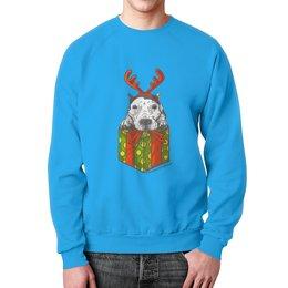 """Свитшот мужской с полной запечаткой """"новый год"""" - новый год, зима, собака, подарок, год собаки"""