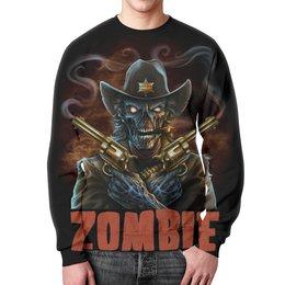"""Свитшот мужской с полной запечаткой """"Zombie Sheriff"""" - skull, череп, zombie, зомби, шериф"""