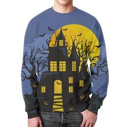 """Свитшот мужской с полной запечаткой """"Хэллоуин"""" - хэллоуин, тыква, летучая мышь"""