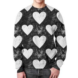 """Свитшот мужской с полной запечаткой """"Черно-белые сердца """" - сердца, ретро, черно-белые"""
