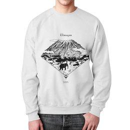 """Свитшот унисекс с полной запечаткой """"Килиманджаро"""" - арт, горы, иллюстрация, чернобелый, альпинизм"""