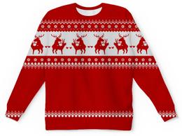 """Свитшот унисекс с полной запечаткой """"Любвеобильные олени"""" - праздник, любовь, новый год, красный, олени"""