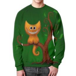 """Свитшот унисекс с полной запечаткой """"МИЛЫЙ РЫЖИЙ КОТЕНОК НА ДЕРЕВЕ. УЛЫБКА."""" - улыбка, дерево, рыжий кот"""