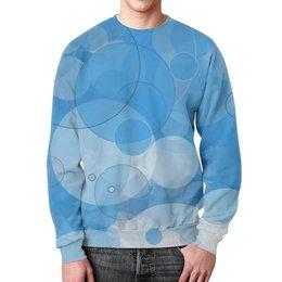 """Свитшот мужской с полной запечаткой """"Абстракция"""" - голубой, абстракция, круги"""