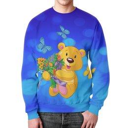 """Свитшот унисекс с полной запечаткой """"Мишка и букет"""" - бабочки, цветы, медведь, мишка, игрушки"""