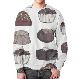 """Свитшот мужской с полной запечаткой """"Конфеты"""" - конфеты, узор, еда, сладости, шоколад"""