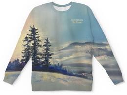 """Свитшот унисекс с полной запечаткой """"Зимнее небо"""" - зима, лес, небо, синий, закат"""