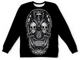 """Свитшот унисекс с полной запечаткой """"Skull Art"""" - skull, череп, skeleton, скелет, арт дизайн"""