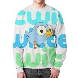 "Свитшот мужской с полной запечаткой ""Twitter"" - twitter, птичка, twit, wax, wit"