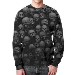 """Свитшот мужской с полной запечаткой """"BlackSkull """" - черепа, скелет, абстракция, анатомия, иллюзия"""