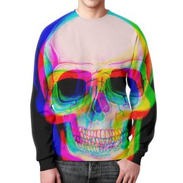 """Свитшот мужской с полной запечаткой """"Череп"""" - skull, череп, радуга, абстракция, 3d"""