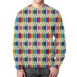 """Свитшот мужской с полной запечаткой """"Карандаши"""" - радуга, разноцветный, карандаши, цветной"""