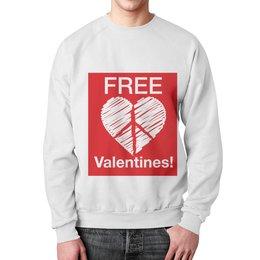 """Свитшот мужской с полной запечаткой """"День Святого Валентина"""" - свобода, hearth, free, valentines day, пацифист"""