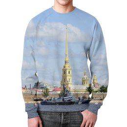 """Свитшот мужской с полной запечаткой """"Петропавловская крепость"""" - корабль, санкт-петербург, нева, петропавловская крепость, облака над рекой"""