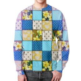 """Свитшот унисекс с полной запечаткой """"Цветы (ковер)"""" - цветы, звезды, сердечки, квадраты, полоски"""