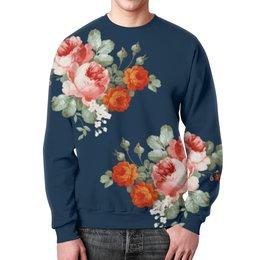 """Свитшот унисекс с полной запечаткой """" Ты цветы"""" - цветы, россия, розы, 8марта"""