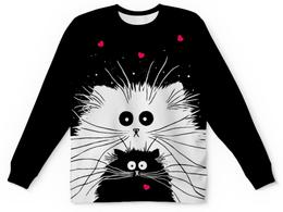 """Свитшот унисекс с полной запечаткой """"Белый кот черная кошка (1)"""" - любовь, сердечки, котики"""