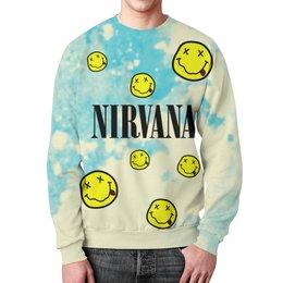 "Свитшот мужской с полной запечаткой ""Nirvana"" - гранж, nirvana, kurt cobain, курт кобейн, нирвана"