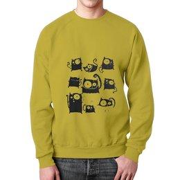 """Свитшот мужской с полной запечаткой """"Кошки 5"""" - рисунок, кошки, графика, чёрный кот"""
