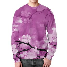 """Свитшот мужской с полной запечаткой """"Цветки"""" - цветы, весна, природа, дерево, цветочки"""