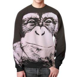 """Свитшот мужской с полной запечаткой """"Обезьяна"""" - обезьяна, monkey, обезьяны, новыйгод"""