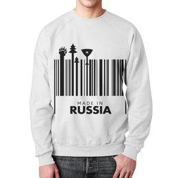 """Свитшот мужской с полной запечаткой """"Сделано в России"""" - новый год, медведь, россия, балалайка, сделано в россии"""