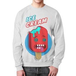 """Свитшот унисекс с полной запечаткой """"CRAZY ICE CREAM"""" - красный, хит, мороженое, icecream"""