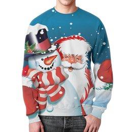 "Свитшот унисекс с полной запечаткой ""Новогодняя (1)"" - праздник, зима, дед мороз, санта клаус, снеговик"