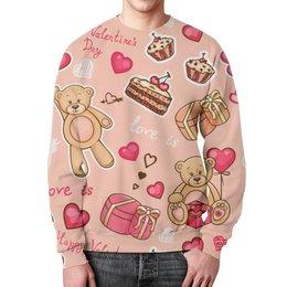 """Свитшот унисекс с полной запечаткой """"Happy Valentine's day"""" - love is, подарок, valentine's day"""