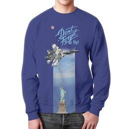 """Свитшот мужской с полной запечаткой """"Истребитель Су-57 над Статуей Свободы"""" - свобода, самолет, истребитель, вкс, to fly"""