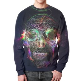 "Свитшот мужской с полной запечаткой ""Skull - 17"" - skull, череп, арт, дизайн, rock and roll"