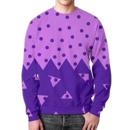 """Свитшот унисекс с полной запечаткой """"Падающие треугольники"""" - сиреневый, фиолетовый, треугольник, горох, половина"""