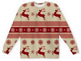 """Свитшот унисекс с полной запечаткой """"Олени"""" - новый год, зима, снежинки, олени"""