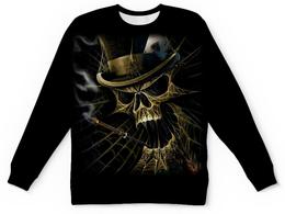 """Свитшот унисекс с полной запечаткой """"Skull Art"""" - skull, череп, арт дизайн, сигарета, игральные карты"""