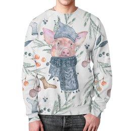 """Свитшот мужской с полной запечаткой """"Новогодний сюрприз 2"""" - свинка, свинья, новыйгод"""