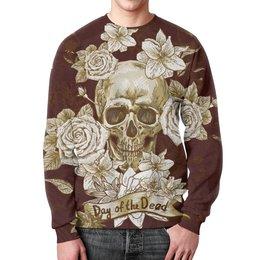 """Свитшот мужской с полной запечаткой """"Day of the Dead"""" - череп, цветы, рок, кости"""