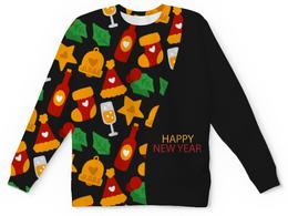 "Свитшот унисекс с полной запечаткой ""Happy New Year"" - звезды, подарок, рождество, елка, merry christmas"