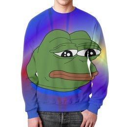 """Свитшот унисекс с полной запечаткой """"Pepe Frog"""" - мем, meme, sad frog, pepe frog, pepe the frog"""