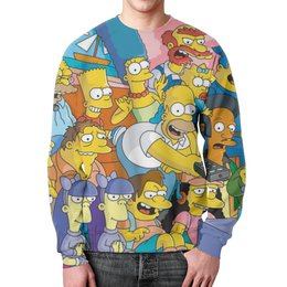 """Свитшот мужской с полной запечаткой """"Симпсоны (Simpsons)"""" - simpsons, симпсоны"""