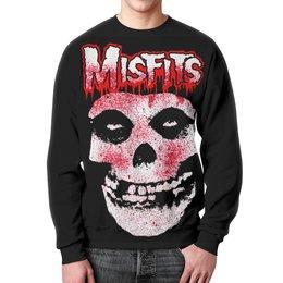 """Свитшот унисекс с полной запечаткой """"Misfits"""" - музыка, арт, стиль, череп"""